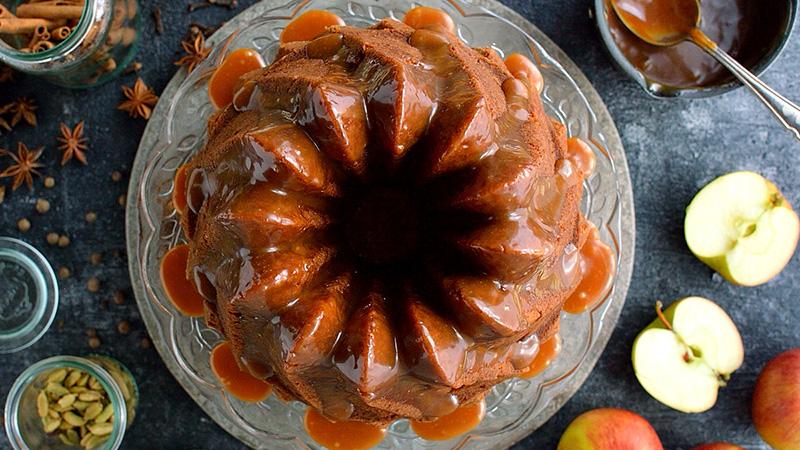 Apple Bundt Cake with spiced caramel glaze