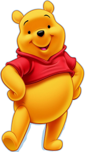 Winnie the Pooh in a jaunty happy stance