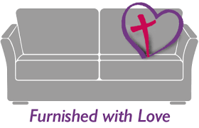 Furnished with love couch with a cross in a heart